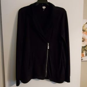 Jacket with off center zip front.